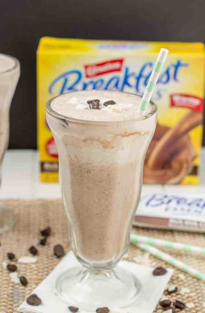 Start your morning off on the right foot with this Mocha Coconut Java Carnation Breakfast Shake. It's nutritious, packed with protein and vitamins and it'll fill you up and save you time in the morning so you have more energy to accomplish everything else! | Strawberry Blondie Kitchen