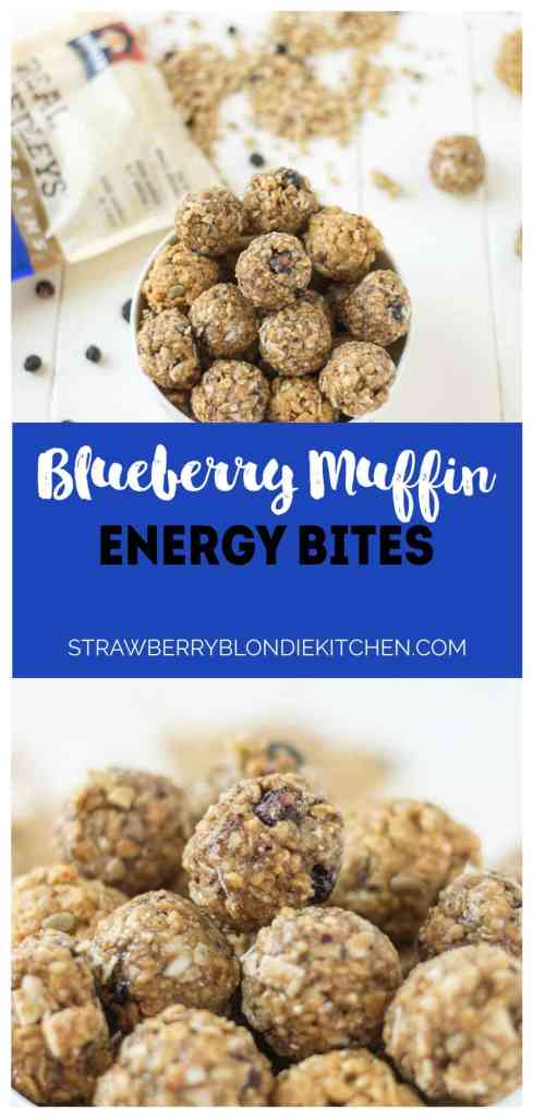 These 4 ingredient, no bake, Blueberry Muffin Energy Bites are the perfect grab and go breakfast or snack. Packed with good for you super grains and seeds, these will be your new and nutritious way to start your day or tackle your afternoon to do list! | Strawberry Blondie Kitchen