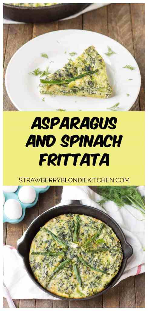 Bursting with springtime flavors, this Asparagus and Spinach Frittata is the perfect dish to wake up to in the morning. Fresh asparagus, spinach and tangy goat cheese pair nicely to give you a healthy balanced breakfast, snack or meal any time | Strawberry Blondie Kitchen