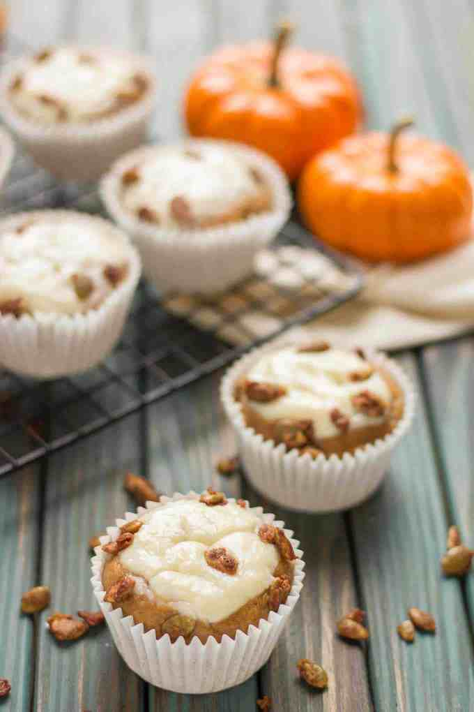 Pumpkin Spice Cream Cheese Muffins are the quintessential treat of Fall. Filled with aromatic autumn spices, stuffed with cream cheese and sprinkled with sugared pepitas, this is sure to be your go to Pumpkin Spice Cream Cheese Muffins recipe.   Strawberry Blondie Kitchen