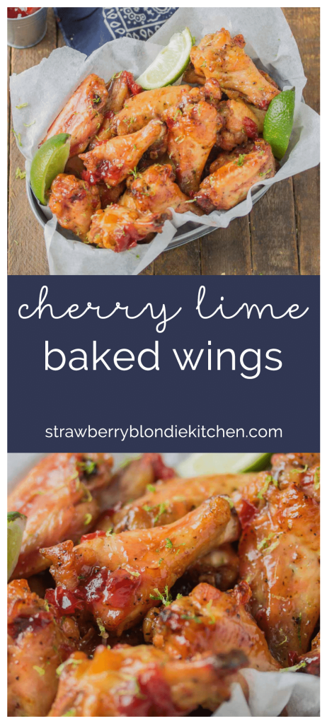 Sweet, tart and tangy, these Cherry Lime Baked Wings are delicious and addictive. Be sure to make a big batch, they're sure to be the hit of your next game day party! | Strawberry Blondie Kitchen