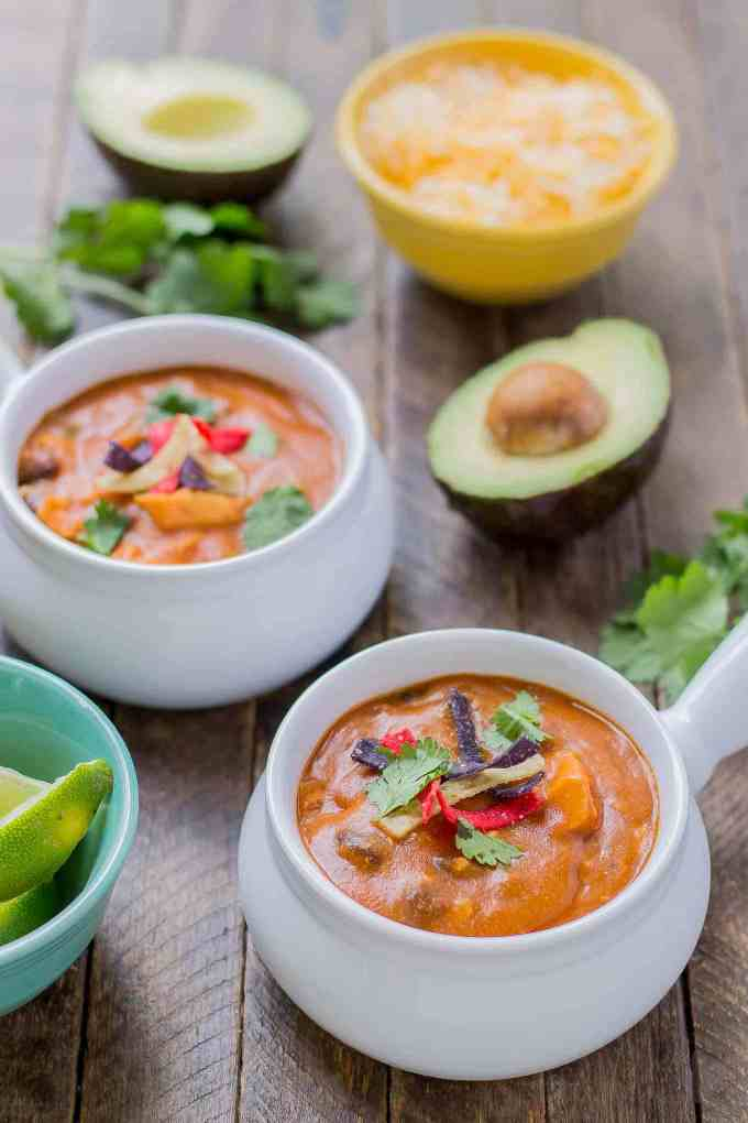 Start your back to school shopping this year at Walmart and make this delicious Chicken Enchilada Soup. On the table in less than 30 minutes! | Strawberry Blondie Kitchen