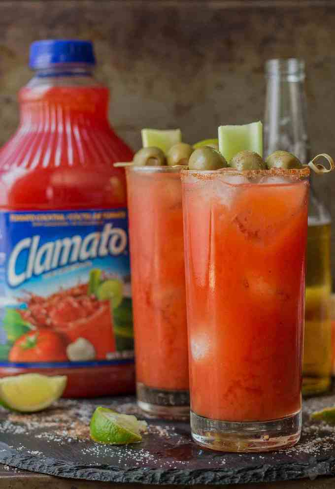 Smoky spices, liquid smoke and Clamato juice blend perfectly to create these Smokin' Micheladas which are the ultimate brunch sippers.   Strawberry Blondie Kitchen