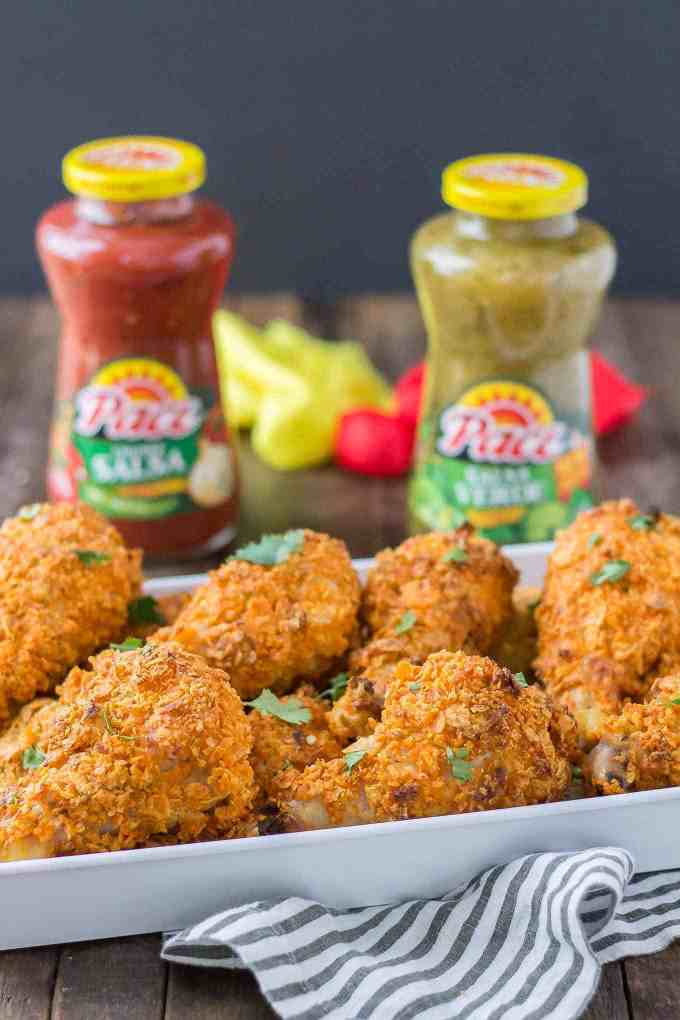 Ban the bland and make game day amazing by heading to Walmart to pick up some Pace® Salsa Verde! Then whip up these Nacho Drumsticks which are crunchy, delicious and a real crowd pleaser! | Strawberry Blondie Kitchen