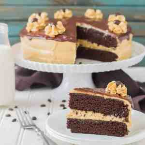 Rich chocolate espresso cakes are layered with Pillsbury™ Peanut Butter Frosting made with real Jif® Peanut Butter to create the ultimate cake lover's dream! | Strawberry Blondie Kitchen