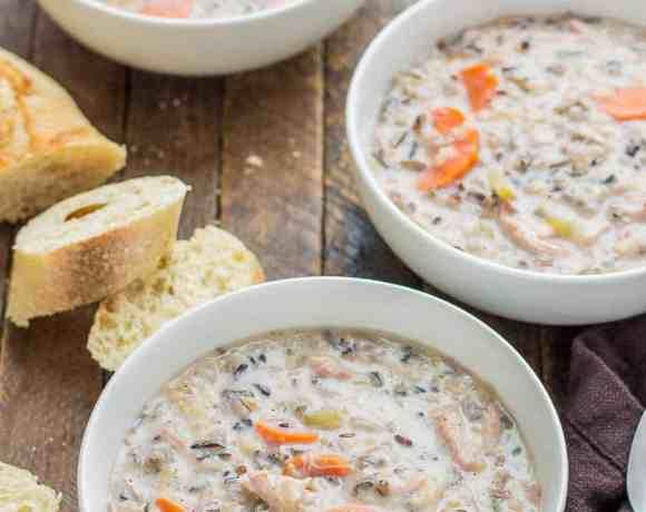 Crockpot Chicken and Wild Rice Soup | #Crocktober