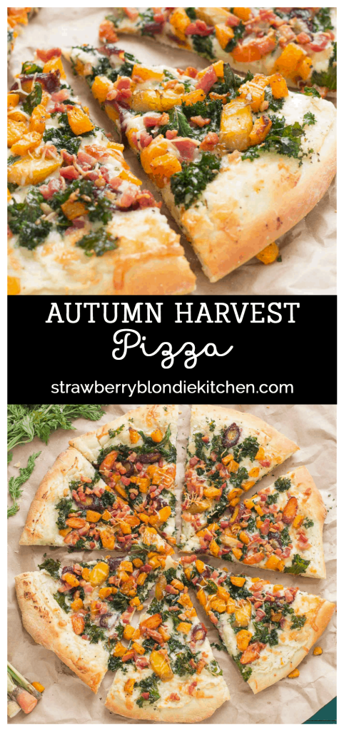 Autumn Harvest Pizza features roasted vegetables; butternut squash, carrots and garlic, buttery cheese, kale and pancetta to give you the best of fall in a fabulously delicious pizza! | Strawberry Blondie Kitchen