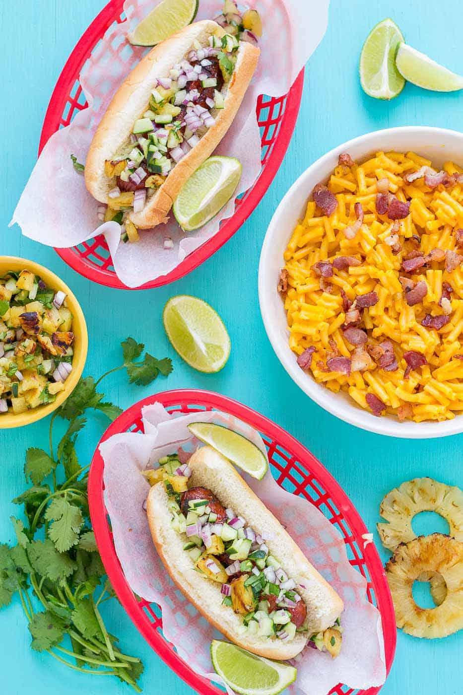 Hawaiian BBQ Hot Dogs - Strawberry Blondie Kitchen