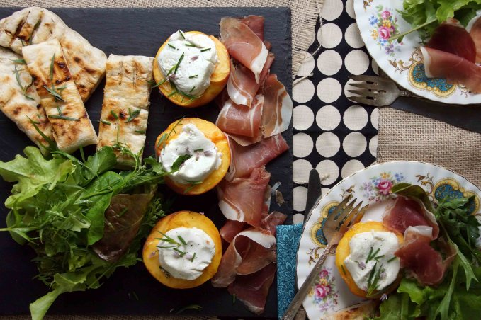 Grilled Peaches with Chevre, Mixed Greens & Prosciutto