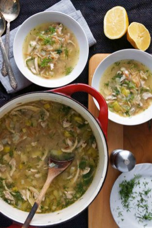 Lemony Chicken, Orzo, and Dill Soup