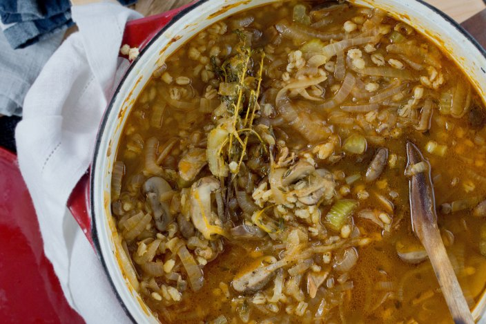 Caramelized Onion, Mushroom & Barley Soup