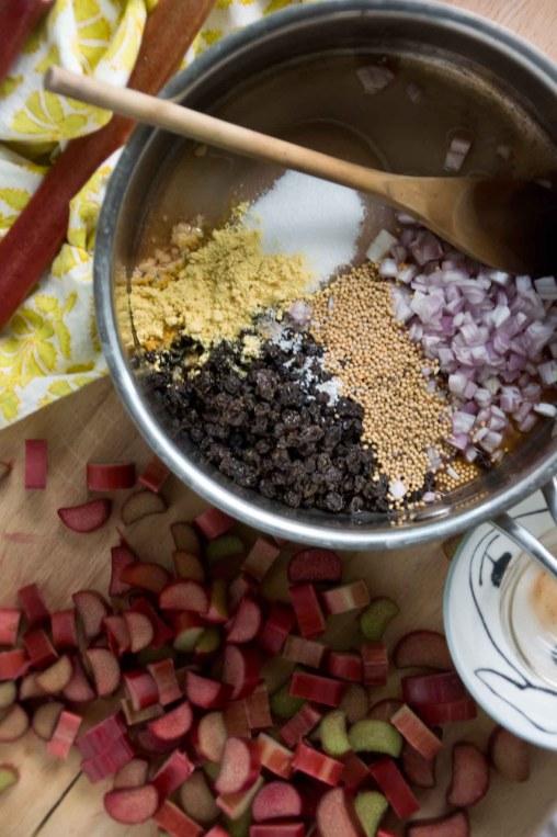 Making Rhubarb-Currant Mostarda