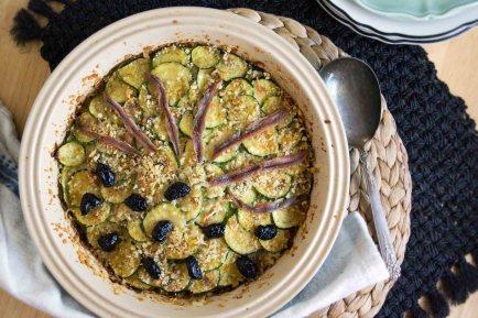 Zucchini & Caramelized Onion Gratin