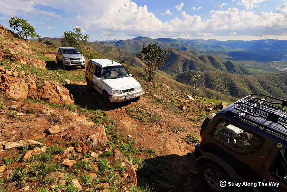 Thomas in the convoy of 4x4s in the Makhonjwa Mountains