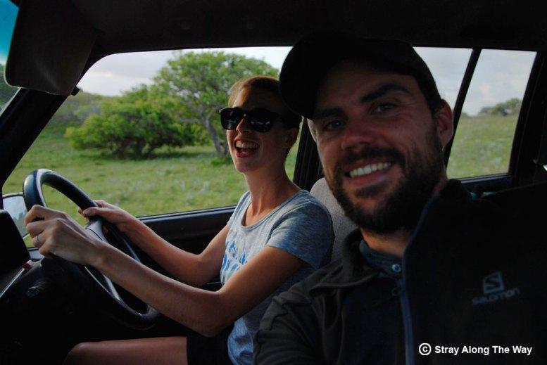 Jill driving Thomas