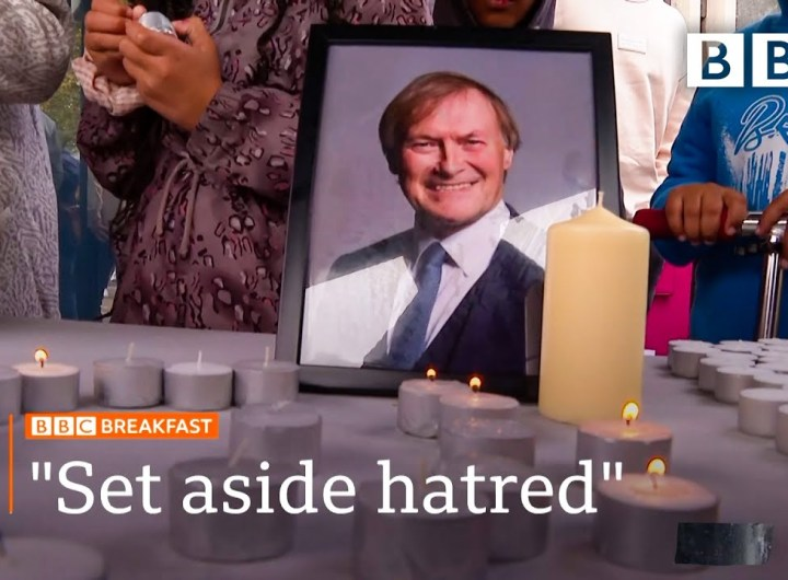Sir David Amess death: Show kindness and love, say MP's family @BBC News live 🔴 BBC