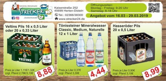Veltins Angebot, Tönissteiner Mineralwasser. Hasseröder Premium Pils 0,5 Liter