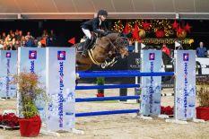 Logan Fiechter (13) werd met Minerva for Play tweede in de pony GP op Jumping de Achterhoek 2019. Foto Digishots