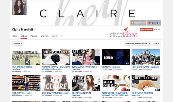 YouTube Favourite 5 Claire Marshall
