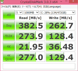 Surface Pro 3 SSD Speed by Crystal Diskmark