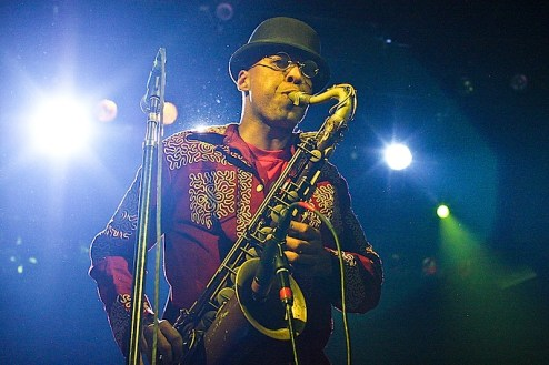 Angelo Moore of the band Fishbone performing at Irving plaza / Fillmore east