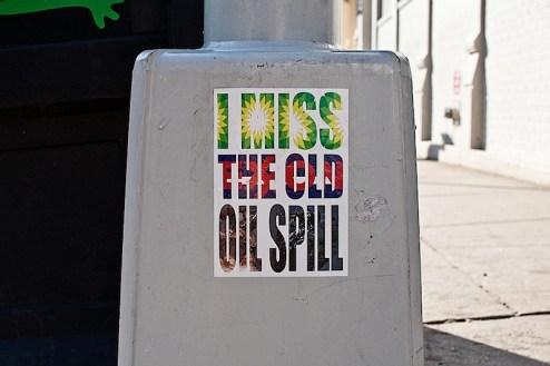 i miss the old oil spill sticker in SoHo NYC