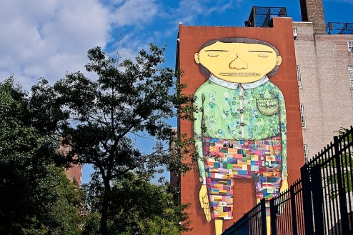 os gemeos and futura's amazing collaboration on the side of ps21 in NYC