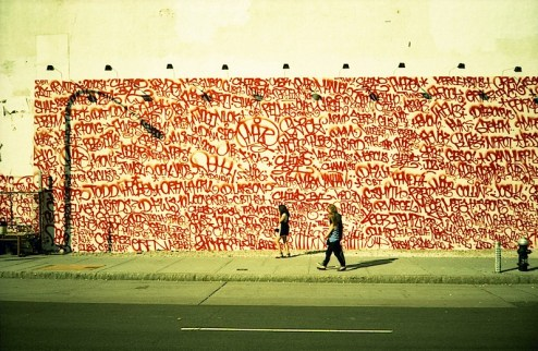 twist aka barry mcgee street art / graffiti mural on houston street in NYC