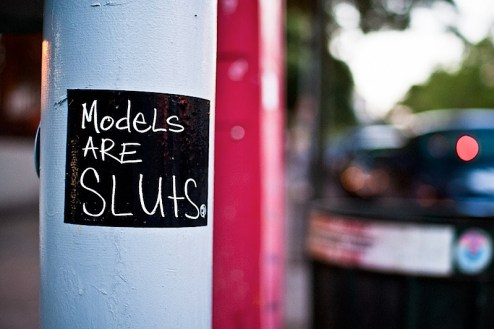 models are sluts sticker found in the east village in NYC