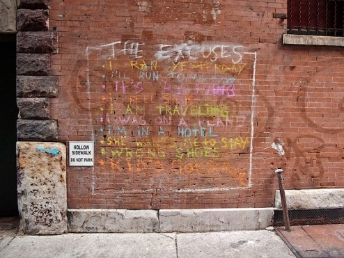 excuses for not running street art in tribeca, NYC
