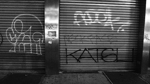 graffiti by katsu and neckface on the bowery, NYC