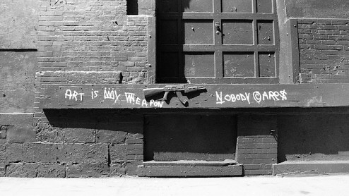 art is my weapon graffiti street art by TMNK aka Nobody cares on the streets of NYC