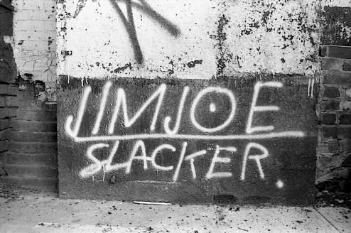 slacker graffiti by Jim Joe in SoHo, NYC