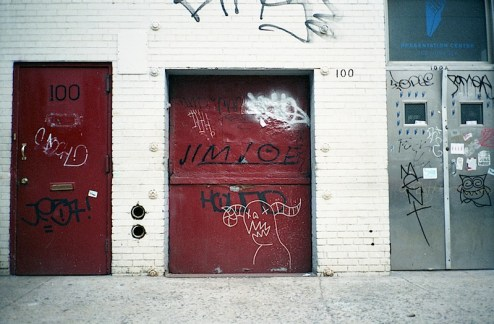 jim joe and a devil creature graffiti shot in NYC with a contax t2 on lomo 400 film