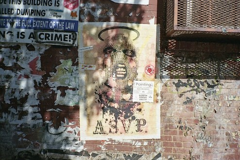 street art by ASVP in the sun in williamsburg, brooklyn