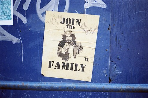 "charlie manson street art ""join the family"" founf in nyc"