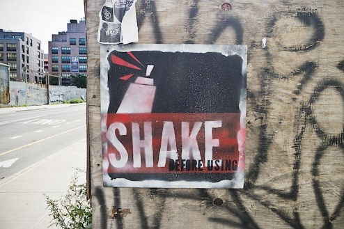 shake before using street art found in williamsburg brooklyn