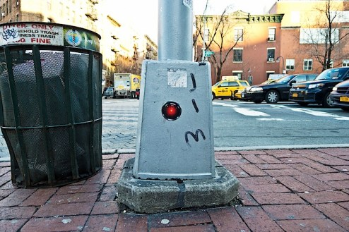 a hal 9000 sticker with jim joe graffiti found in the west village of nyc