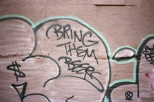 bring them beers graffiti found in the lower east side of NYC