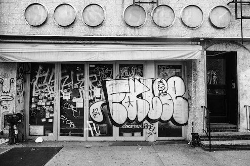 a graffitied building in the east village of nyc
