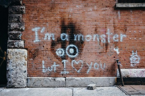 i'm a monster but i love you graffiti shot in tribeca, nyc