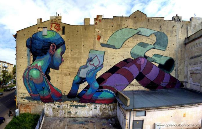 1 Galeria Urban Art Forms in Lodz, Poland. By Aryz 1