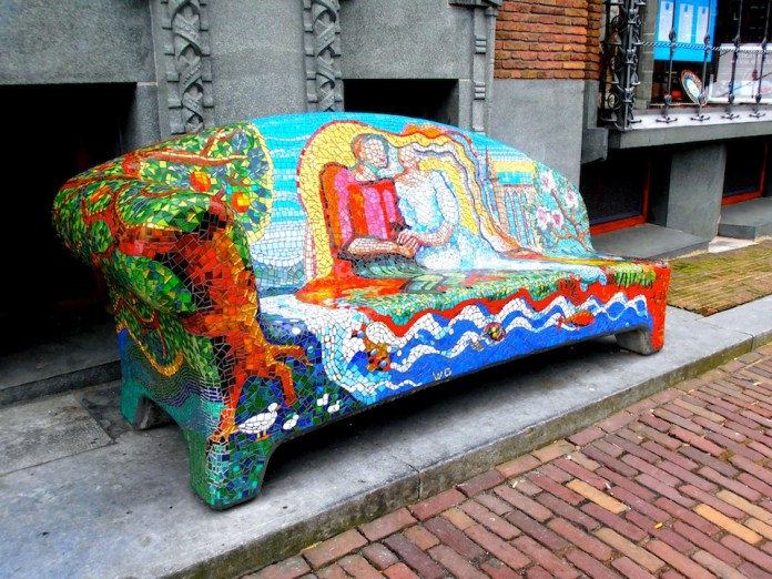 Mosaic bench in Amsterdam, Holland, NL
