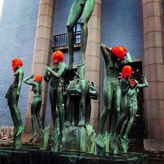 US president Obama visit Stockholm, Sweden – Artists covered the city's statues with orange