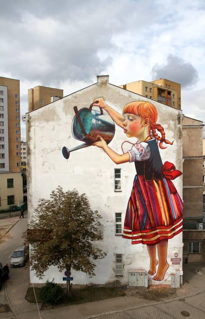 Mural by Natalia Rak at Folk on the Street in Poland