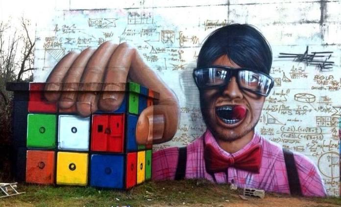 The Rubik Cube – 3D Street Art by Jeazer Oner