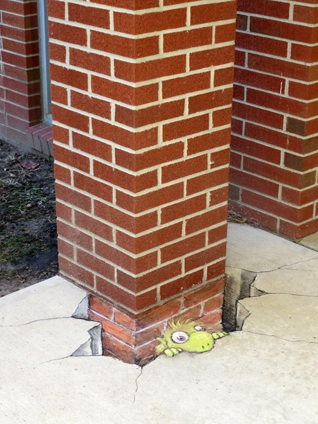 Street Art by David Zinn in Michigan, USA