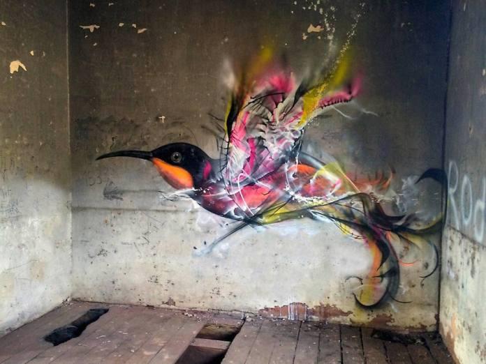 Street Art Bird by L7m in Brazil 2015