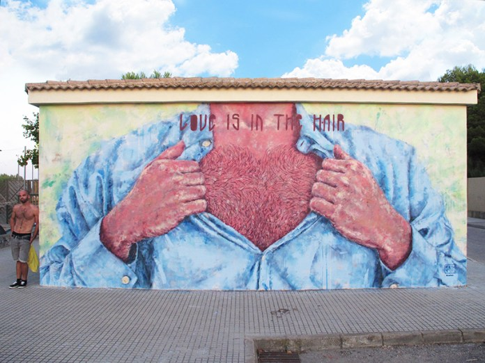 Street Art by Sath in Mallorca, Spain - Love is in the h-air