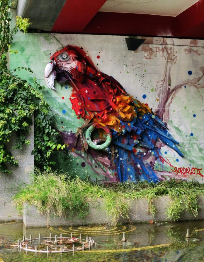 2 Street Art by Bordalo II in Lisbon, Portugal